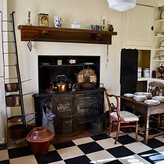 The fireplace and range in the victorian kitchen at Reveley Lodge.