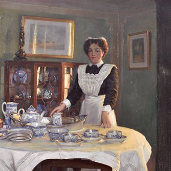 A painting of Mabel who was the maid at Reveley Lodge