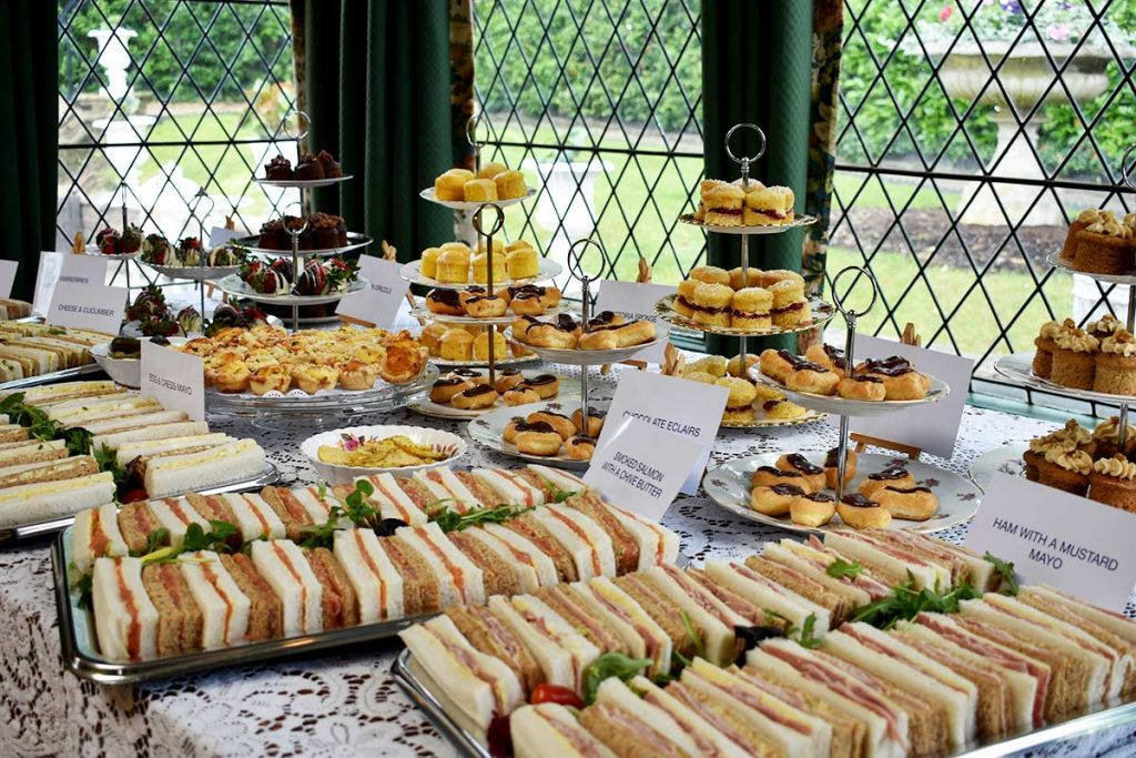 Cakes and sandwiches.