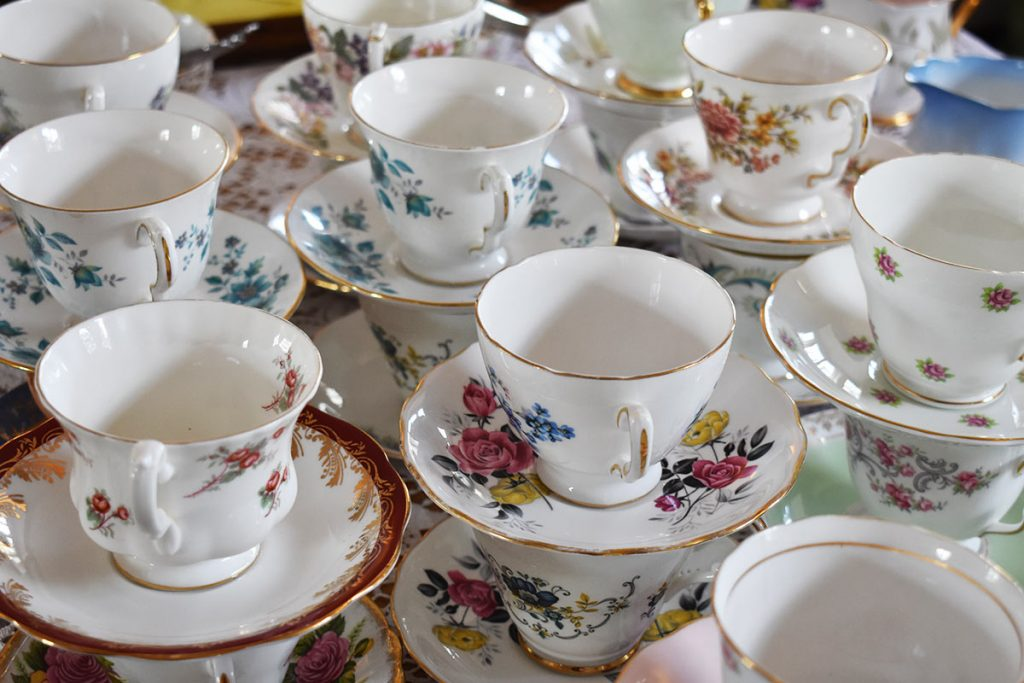 Vintage china teacups and saucers.