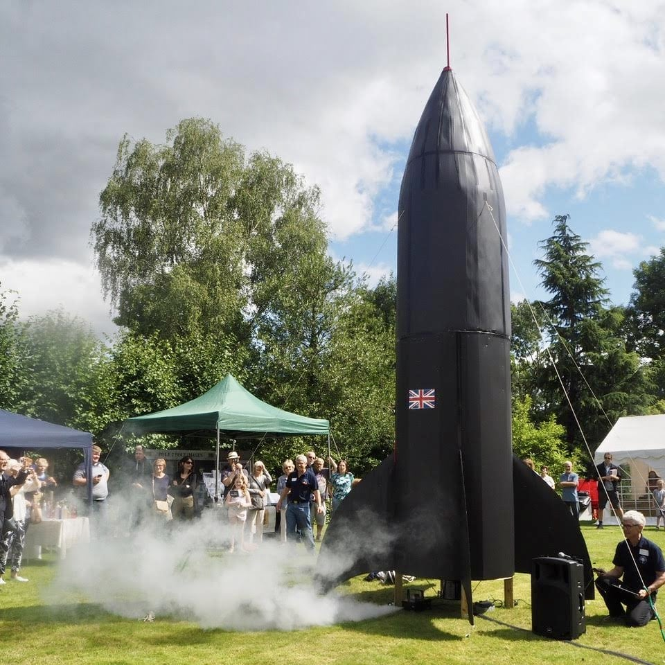 The launch of the 'Reveley Rocket' at our summer garden party.