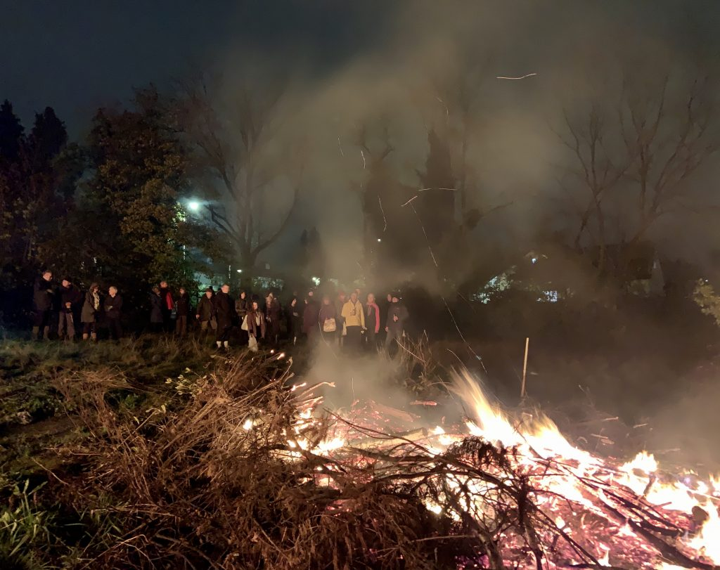 The annual volunteer's bonfire evening in the paddock at Reveley Lodge.
