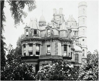 A black and white photograph of Otway Towers.