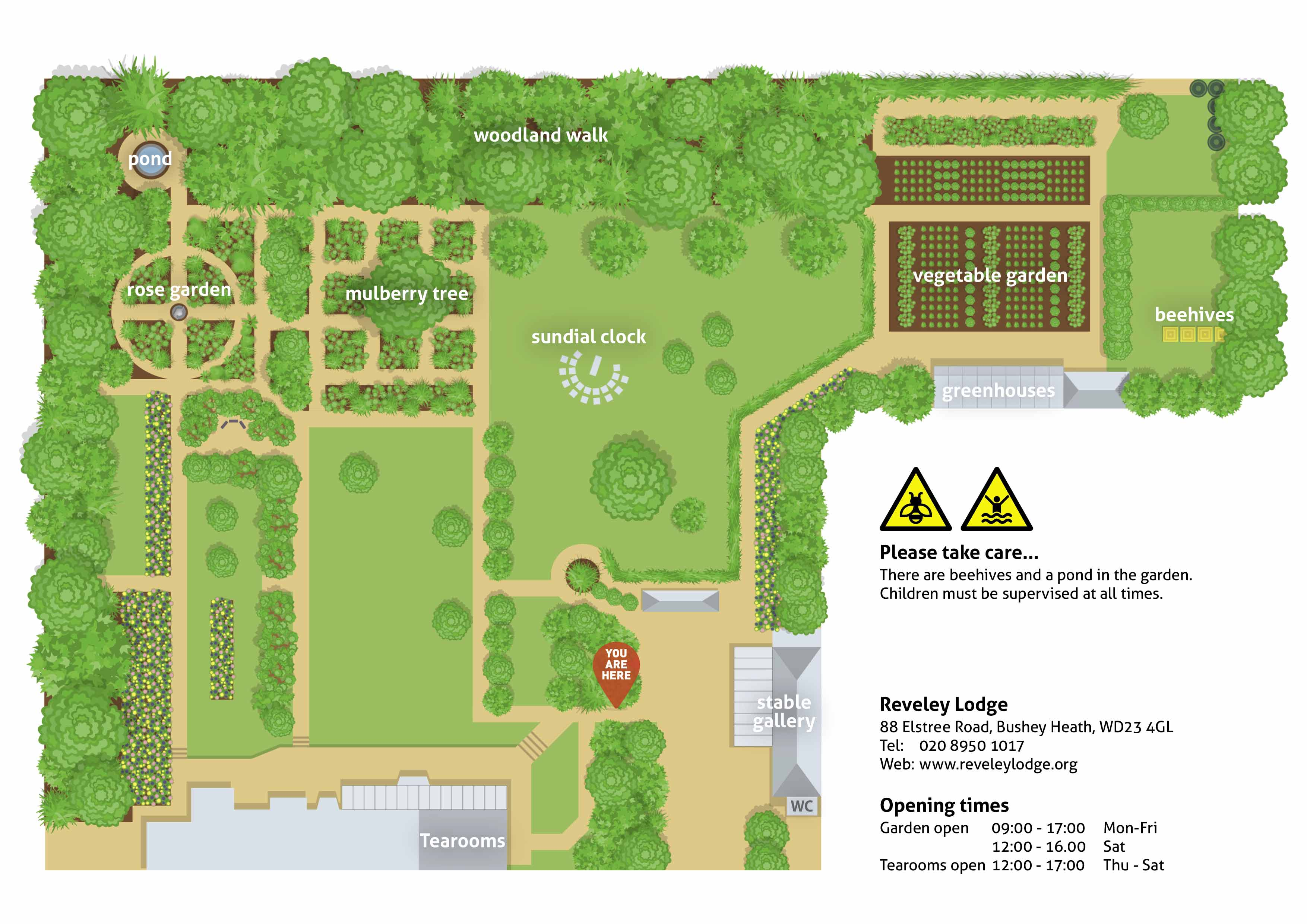 A map of Reveley Lodge garden showing the rose garden, pond, woodland walk, sundial, vegetable garden, beehives, stables gallery and tearooms.