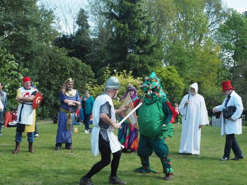 A St George's Day re-enactment with St George and the dragon.