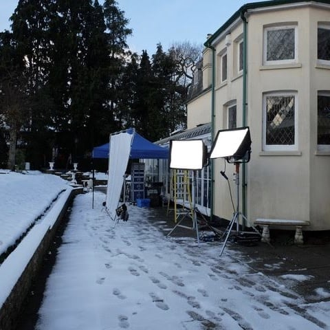 Film crew equipment on the terrace at Reveley Lodge.